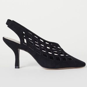 Black Slingbacks in faux suede